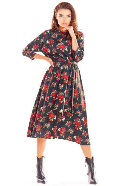 Sukienka midi elegancka rozkloszowana