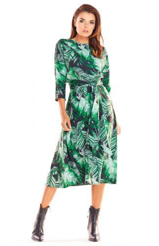 Sukienka midi elegancka taliowana