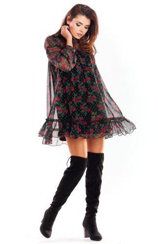 Sukienka szyfonowa mini kwiaty