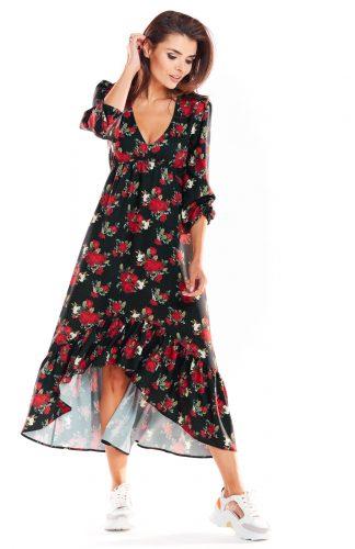 Sukienka maxi z falbanami czarna