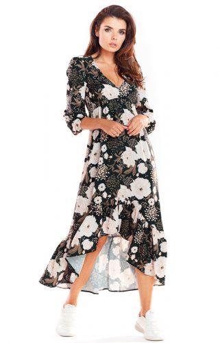 Sukienka maxi z falbanami brązowa