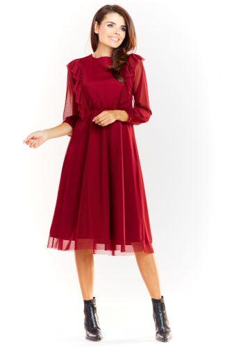 Sukienka tiulowa elegancka bordowa