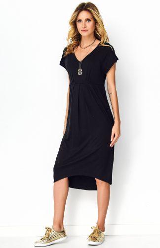 Sukienka asymetryczna midi czarna