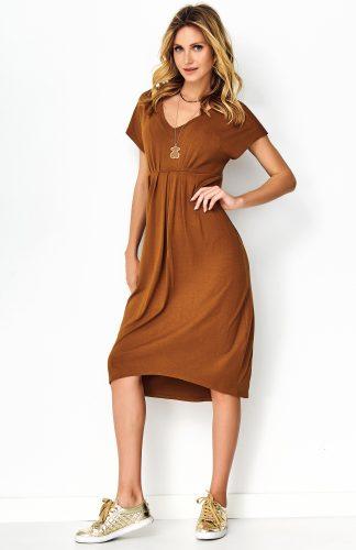 Sukienka asymetryczna midi karmelowa