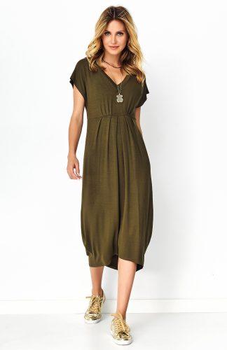 Sukienka asymetryczna midi khaki