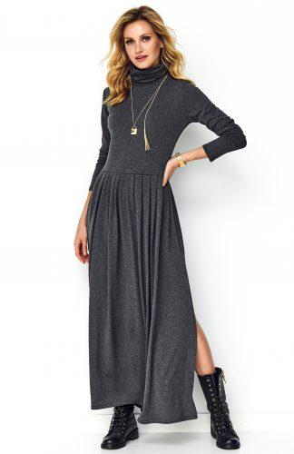 Sukienka maxi z rozcięciem szara, jest elegancka i równocześnie wygodna w noszeniu. Wykonana z miękkiej, przyjemnej dla ciała wiskozy.