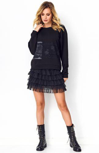 Bluza damska z koronką czarna