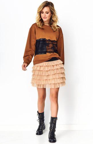 Bluza damska z koronką karmelowa