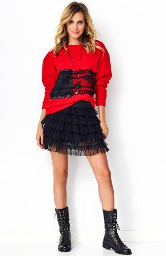 Bluza damska z koronką czerwona