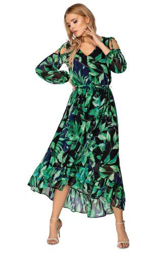 Sukienka szyfonowa z odkrytymi ramionami