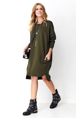 Sukienka dresowa oversize khaki
