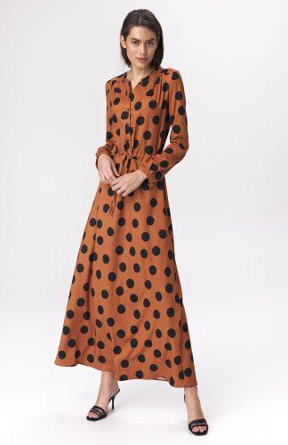 Sukienka maxi w grochy wizytowa