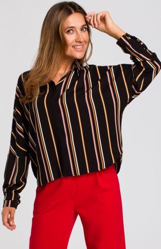 Koszula czarna damska w paski