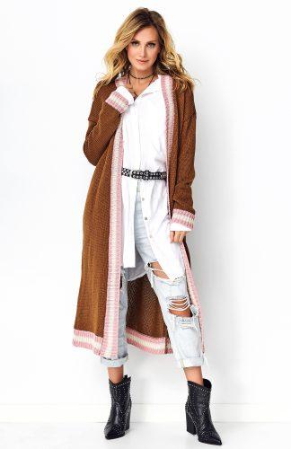 Długi sweter oversize brązowy