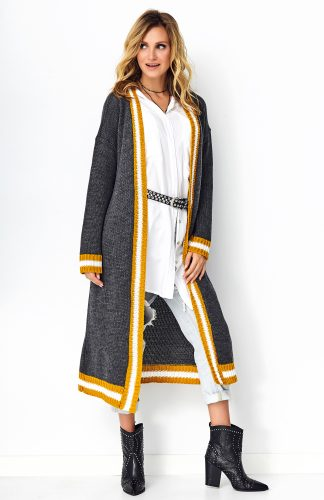 Długi sweter oversize grafitowy