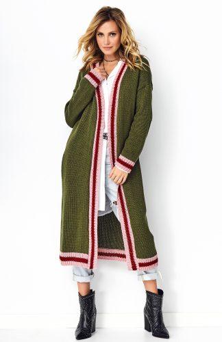 Długi sweter oversize khaki