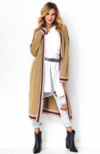 Długi sweter oversize orzechowy