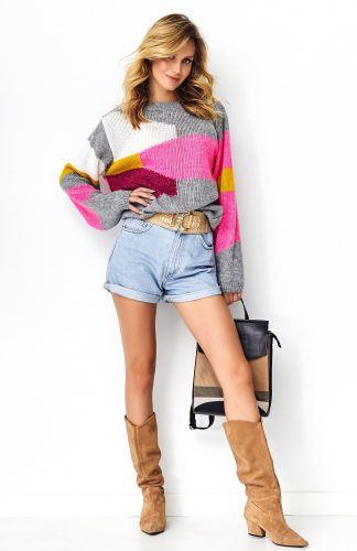 Sweter oversize kolorowy