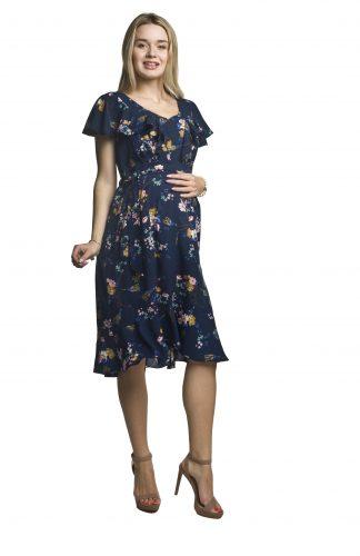 Sukienka ciążowa wizytowa z falbankami