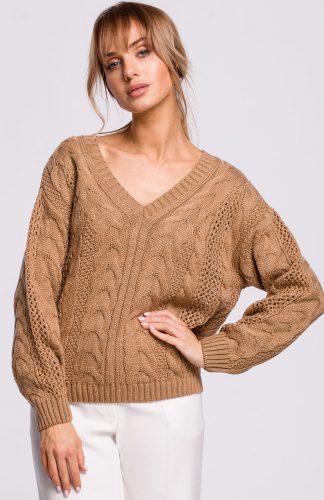 Sweter ażurowy karmel