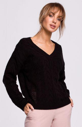 Sweter ażurowy czarny