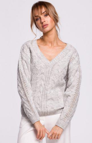Sweter ażurowy szary