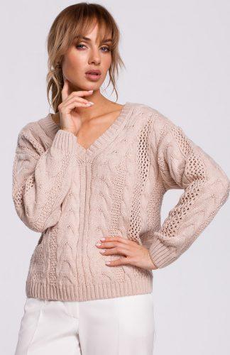 Sweter ażurowy pudrowy