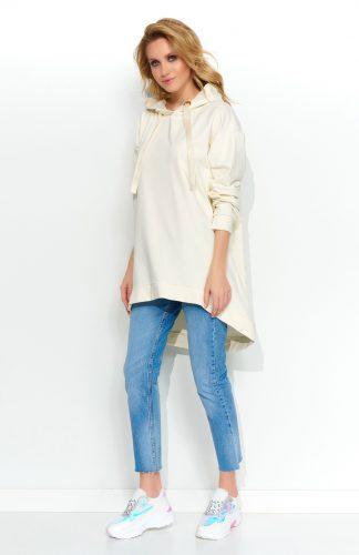 Bluza damska długa z kapturem śmietankowa