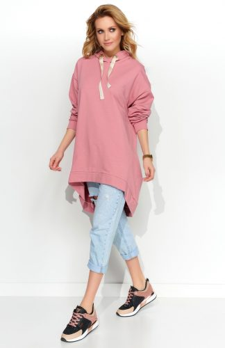 Bluza damska długa z kapturem róż