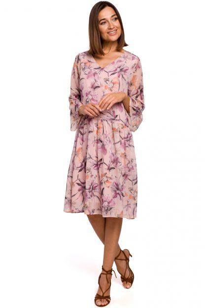Sukienka szyfonowa w kwiaty różowa
