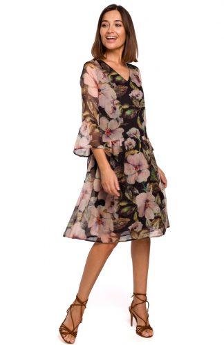 Sukienka szyfonowa w kwiaty czarna