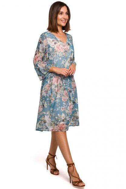 Sukienka szyfonowa w kwiaty niebieska