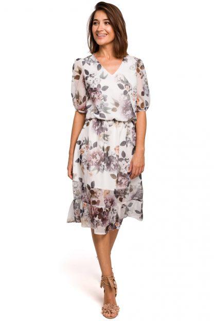 Sukienka szyfonowa z falbaną midi