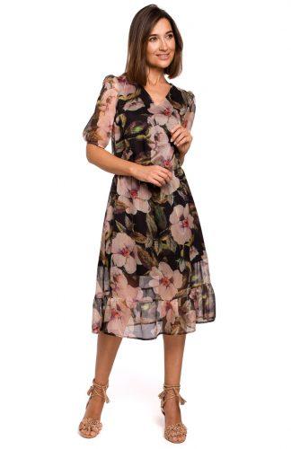 Sukienka szyfonowa midi z falbaną