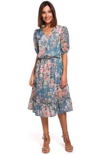 Sukienka szyfonowa z falbanką