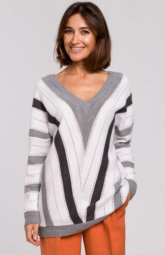 Sweter oversize z dekoltem szary