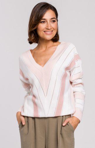 Sweter oversize z dekoltem różowy