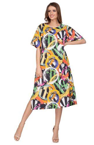 Sukienka trapezowa midi o luźnym kroju