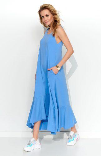 Sukienka maxi z falbaną niebieska
