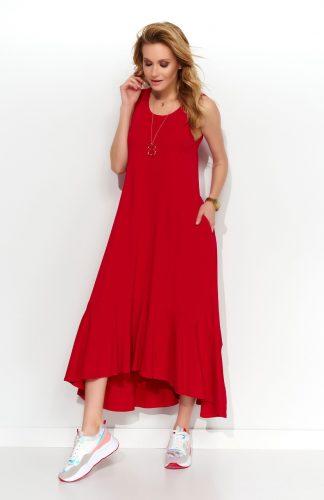 Sukienka maxi z falbaną czerwona