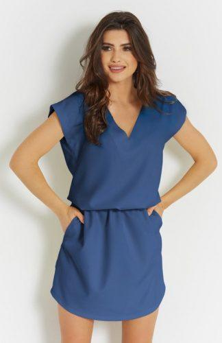 Sukienka mini z dekoltem niebieska