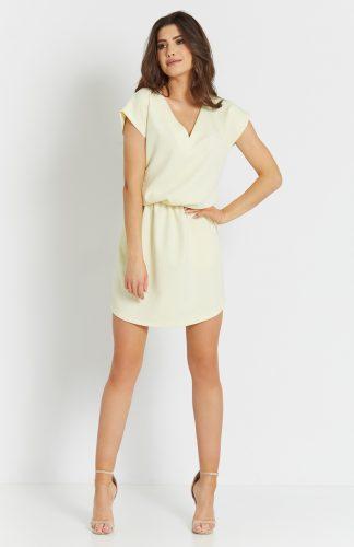 Sukienka mini z dekoltem V żółta