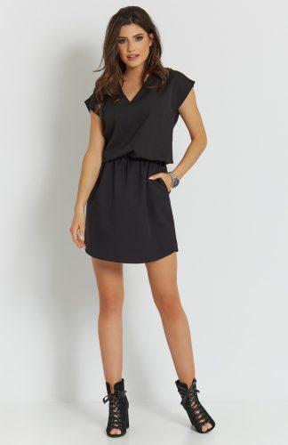 Sukienka mini z dekoltem czarna