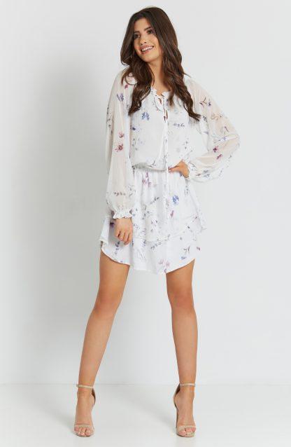 Sukienka szyfonowa mini z falbanami