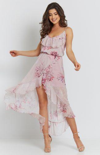 Sukienka szyfonowa midi z falbanami