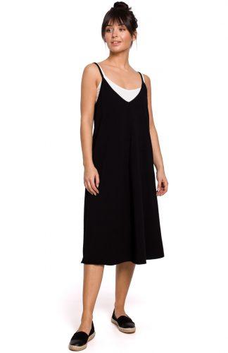 Sukienka midi trapezowa na ramiączkach czarna