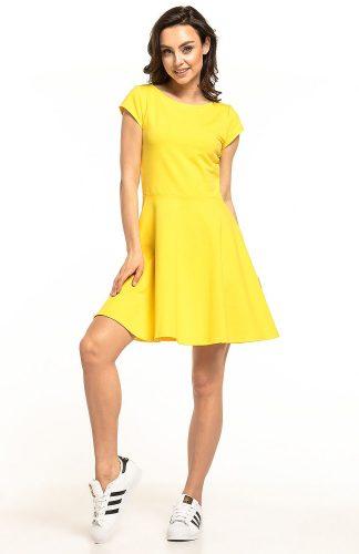 Sukienka rozkloszowana dzianinowa żółta