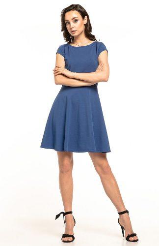 Sukienka rozkloszowana dzianinowa niebieska