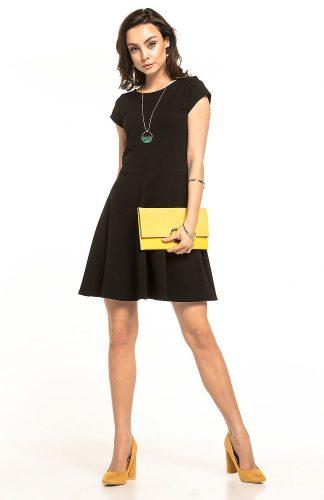 Sukienka rozkloszowana dzianinowa czarna