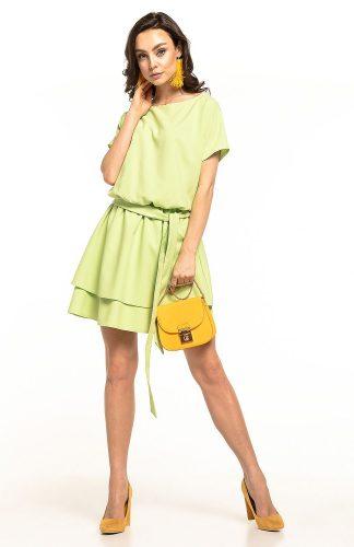 Sukienka rozkloszowana elegancka pistacjowa